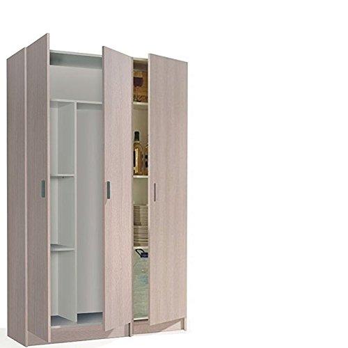 HABITMOBEL Conjunto de Armarios con Puertas, Armario Multiusos, Color Roble,Medidas Total : 180 x 110 Ancho x 37 cm de Fondo