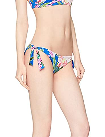 Iris & Lilly Women's Tie-Side Hipster Pant Blue (Multicoloured Large Blue Floral) Large