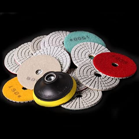 ZFE Mix Grit-M14 Thread 3 Inch Wet Dry Diamond Polishing Pads Set Kit For Granite Concrete Marble Polish Pack of