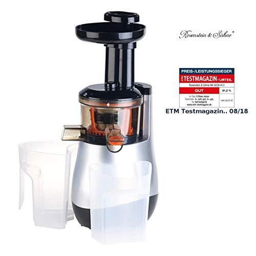 Rosenstein & Söhne Obstpresse: Elektrischer Slow Juicer, 60 Umdrehungen/Min, leiser Motor, 150 Watt (Entsafter Slow-Juicer)