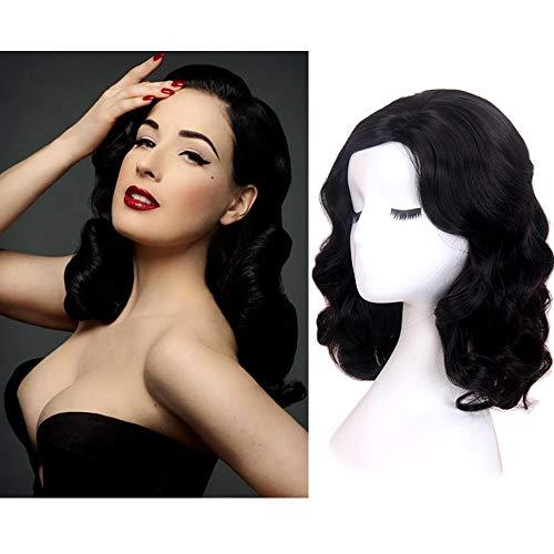 STfantasy Schwarz Perücke Retro Elegant Natural Wave gelockt gewellt wig für Frauen Kostüm Party Karneval Halloween