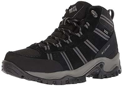 Columbia Men's Grants Pass Waterproof Black Charcoal Leather Trekking and Hiking Footwear Shoes - 10 UK