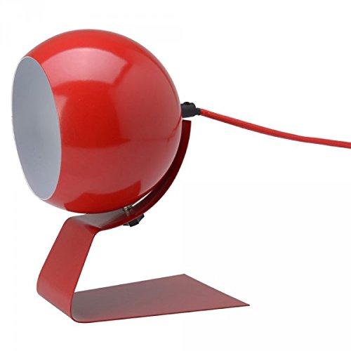 La Chaise Longue 34-1M-007R Lampe Boule orientable Olga Rouge Métal Fil gainé tissu H22,5 à 24 x 15 x 17,5 cm