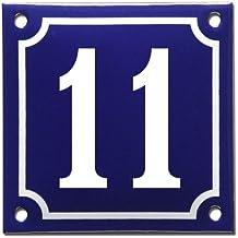 Numero de maison émailléee bleu - Numéro 11
