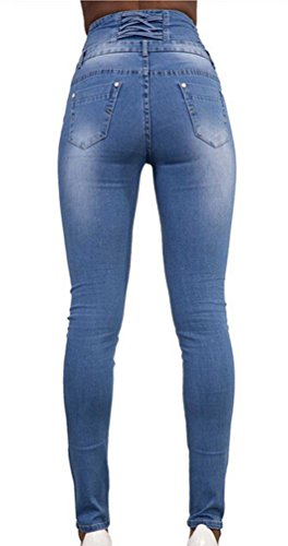 Ghope Damen High Waist Stretch Jeanhose Denim Skinny 4 Tasten Blau
