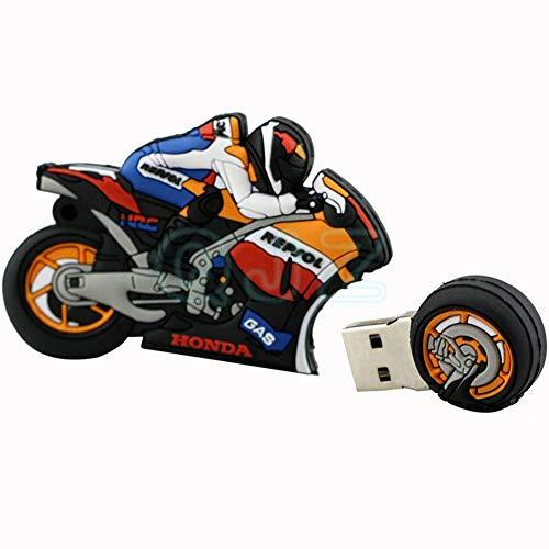 Memorias USB Flash Drive Creativo Dibujos Animados Carreras De Motos Disco USB 2.0 U 4/8/16/32 / 64GB TransmisióN De Alta Velocidad 41 * 27 * 20 Mm PequeñO Y PortáTil Computadora Coche (16GB)