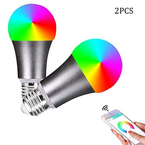 Lampadina a led a colori v2, lampadine dimmerabili rgb che cambiano colore, telecomando vocale con alexa e google home, base di tipo e26 7w, lampadina che cambia colore, 2 confezioni