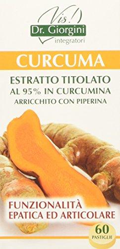 Dr. Giorgini Integratore Alimentare, Monocomponenti Erbe Curcuma Estratto Titolato al 95% in Curcumina Arricchito con Piperina Pastiglie - 30 g
