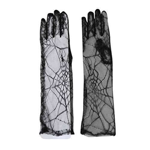 Spinnennetz Schwarz Kostüm Handschuhe - TOYANDONA 1 Paar Halloween Spinnennetz-Handschuhe Spinnennetz, Lange Spitzen-Handschuhe Halloween Cosplay Requisiten Kostüm Zubehör