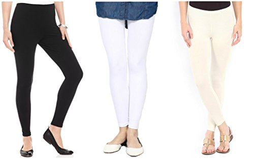 FashGlam Premium Ankle Length Leggings Combo - Black,White,Cream