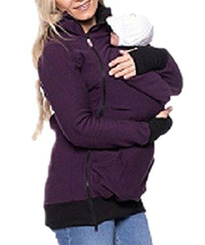 Outgobuy Women's Maternity Kangaroo Hoody Sweatshirt For Baby Carriers(Choose One Size Up) (Purple, L)