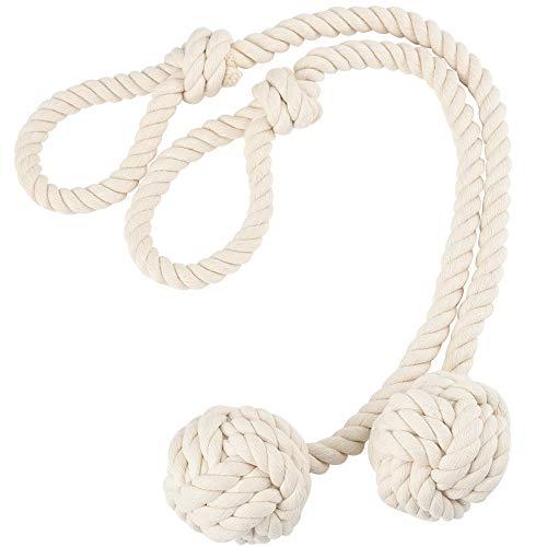 2 Stück Hand Stricken Vorhang Seil Raffhalter, ländliche Baumwolle Seil Tie Band für Strand Dekor rustikale Zimmer, Beige -