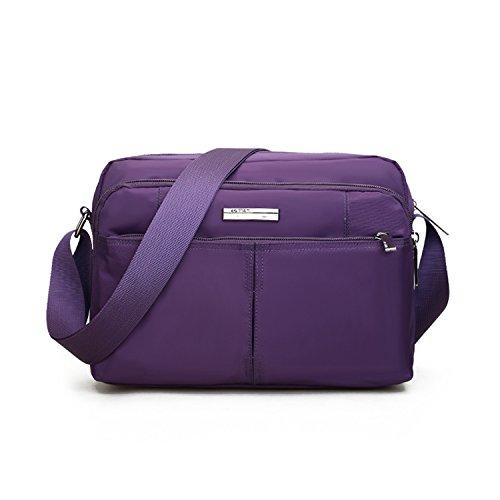 Outreo Borse a Spalla Uomo Borsa Tracolla Vintage Borsello Sport Sacchetto Viaggio Studenti Messenger Bag per Tablet Borsetta Viola