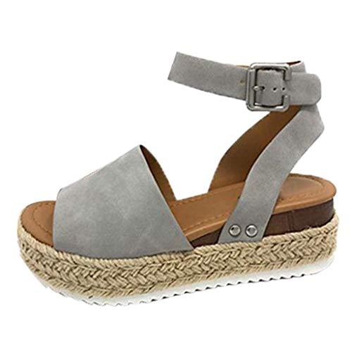 VECDY Damen Schuhe Sommer Sandalen Frauen Sommermode Sandalen Schnalle Keile Retro Peep Toe Sandalen Freizeitschuhe Flache Schuhe 35-43