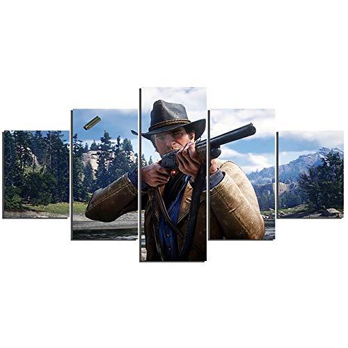 Preisvergleich Produktbild xkkzka Drucke Hängen Bilder Home 5 Panel Red Dead Redemption 2 Wandkunst Modulare Spiel Poster Malerei Auf Leinwand Wohnzimmer Dekor -Rahmen