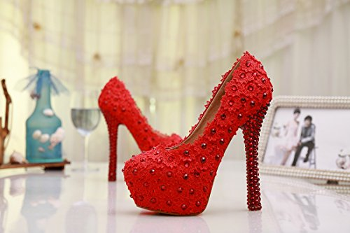 Minitoo , Semelle compensée femme Rouge - Red-14cm Heel