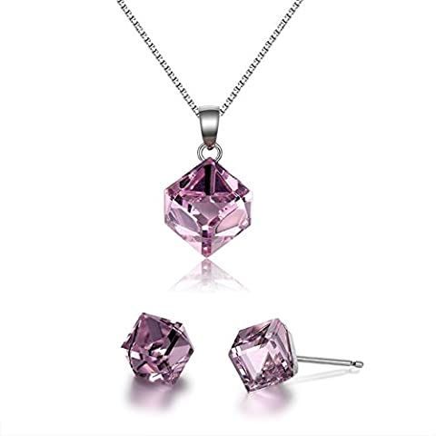 925 Silver Crystal Necklace/ simple décoration-F