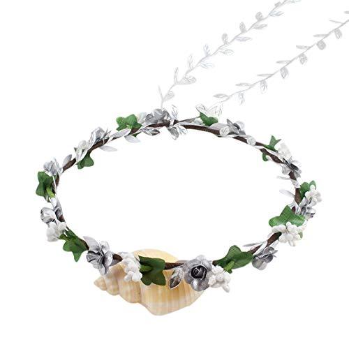 VRTUR Blumenkranz Blumenstirnband Boho für Festival Hochzeit Handmade Floral Bride Wedding Beach Hairband Headband Karneval Geschenk(Einheitsgröße,D)