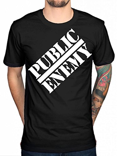 Nemico Pubblico Ufficiale Classic Logo T-Shirt mandrino d Flavor Flav Hip Hop Black X-Large