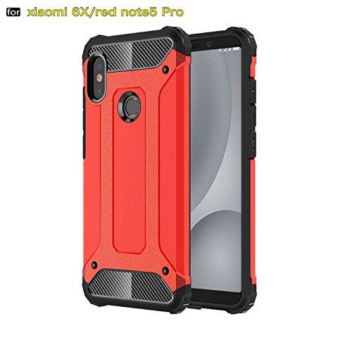 xinyunew Funda Xiaomi Redmi Note 5 Pro, 360 Grados Protección +Vidrio Templado Protector Pantalla Silicona Caso Cover Case Carcasas TPU + plastico Anti Arañazos de Protectora - Rojo