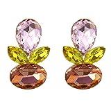 TEMPUS FUGIT Lange Ohrringe Fantasieschmuck. Vergoldet, mit funkelnden Kristallen, inkl. Geschenkbox Rosa und gelb (Ambar)