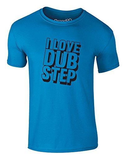 Brand88 - I Love Dub Step, Erwachsene Gedrucktes T-Shirt Azurblau/Schwarz