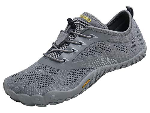 Minimaliste Barefoot Scarpe da Corsa Uomo Piedi Nudi Trail Running Trekking Escursionismo Arrampicata Fitness,Maglieria Grigio,39