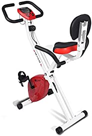 PowerMax Fitness Unisex Adult BX-110SX Exercise Cycle For Home/magnetic X Bike For Weight Loss - Red/White, Co