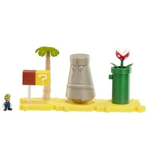 Mario Bros - World of Nintendo Micro Land Playset: Layer Cake Desert with Luigi figura (Jakks Pacific JAKKNIN018LCDL)