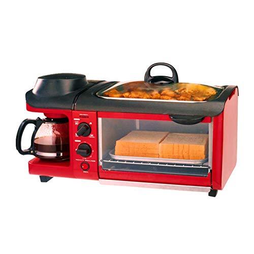 A~LICE&MBJ& Brotbackmaschine 3 In 1 Frühstücksmaschine, Ofen, Kaffeemaschine, Teppanyaki, Fully Automatische Multifunktionsbrotmaschine
