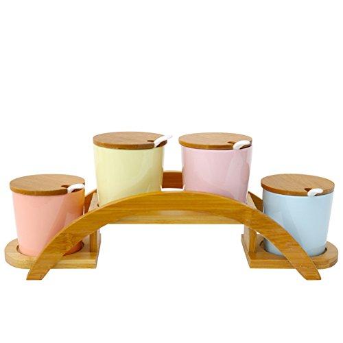 Keramik Gewürz Tasse Fashion kreative Würze Box vier-Bausatz Mit einem Löffel Gewürz Glas mit Deckel-A