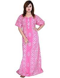 Preeti Textiles Batik Handmade Wooden Block Print Cotton Women Gown Night  Gown Maxie Nightwear… 131913f5b