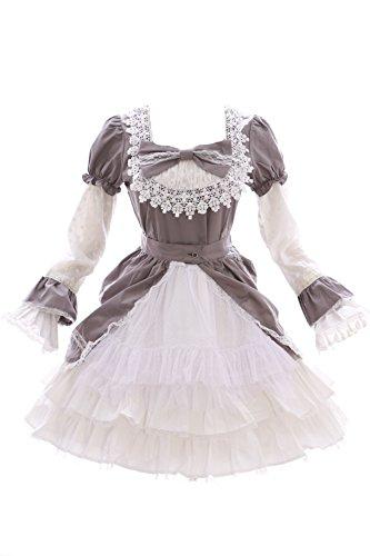 JL-630-3 GRAU Klassik Gothic Lolita Schleife Langarm / Kurzarm Kleid Kostüm Cosplay (EUR XL)