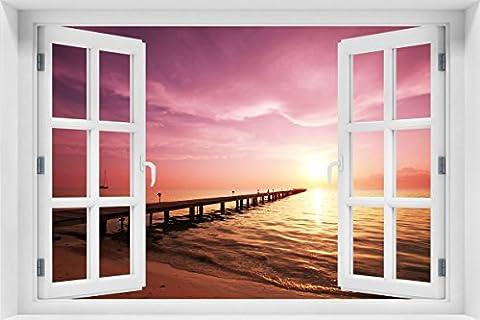 Wallario Acrylglasbild mit Fenster-Illusion: Motiv Auf dem Weg zur Sonne Steg am Meer - 60 x 90 cm mit Fensterrahmen in Premium-Qualität: Brillante Farben, freischwebende (Illusion Glas Schiff)