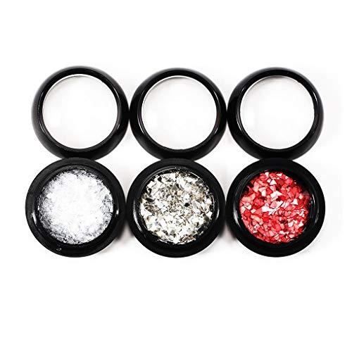 Elenxs 3PCS Transparent Argent Rouge manucure Paillettes Nail Art Décorations Paillettes Femmes Outil bricolage