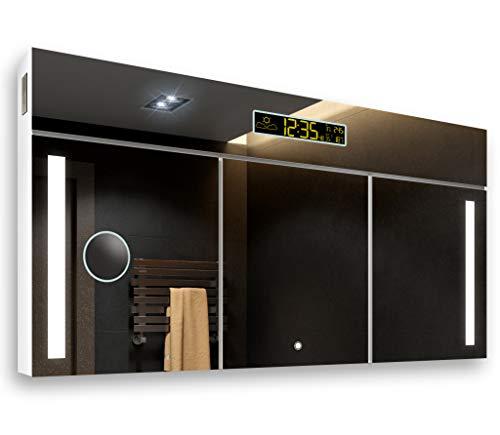 ANPASSEN SPIEGELSCHRANK (Breite 100 cm x Höhe 72 cm) mit LED Beleuchtung, Hochglanz, Badschrank A++ | Schalter, Schminkspiegel, Bluetooth Lautsprecher, Wetter Station, Digital Uhr | Alpines Weiß