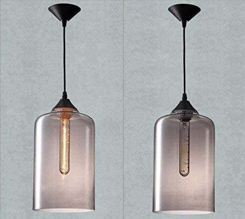 Kronleuchter Retro Einzelkopf Anhänger Beleuchtung Mundgeblasen Rauchgrau Blase Glaszylinder Lampenschirm Pendelleuchte Esszimmer Beleuchtung Bar Küche Hängebeleuchtung, D18 * H181CM -