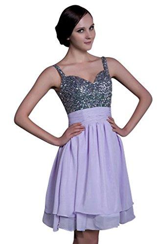 GEORGE BRIDE Suesse Kurz Gurt Chiffon Abendkleid mit Perlen verziert Lavendel