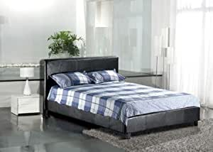 Black Modern 4ft Small Double Faux Leather Bed Frame By Bedsandbeds