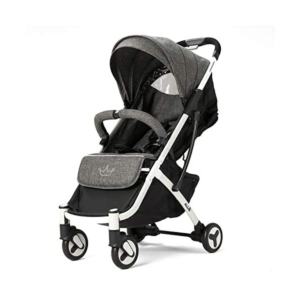 Allis Lightweight Stroller Baby Pushchair Buggy Travel Pram Plume - Grey Allis Baby Made according to British Standard EN1888 and Fire Safety Regulations 1988. Lockable 360 swivel wheels, removable and suspension, Peek A Boo window/ Recline Seat/ Lie-flat position From 6M (Upto 15Kg Approx). Lightweight 6.7Kg only, Easy to fold with one hand only 7