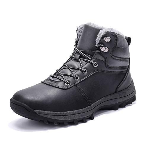 Botas de Nieve Hombre Impermeable Botas de Invierno Antideslizante Calientes Botines Sneakers Negro 43