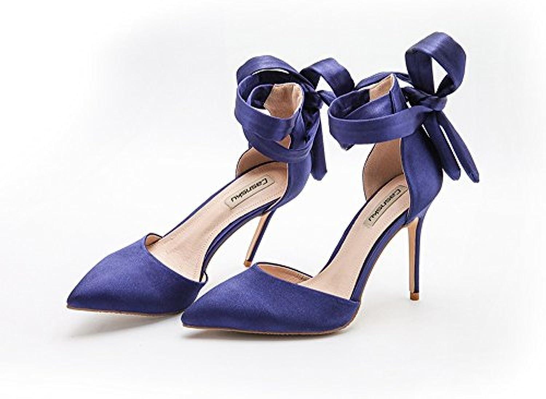 Chaussures de mariage à talon été haut en satin de soie bleu été talon 10cm, sandales sauvages en-tête vide, femmes nues...B07BCJ7PWMParent 3b96c8