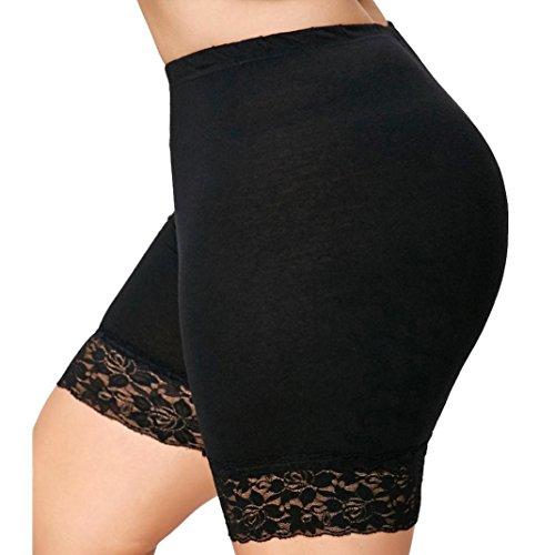 Trada Sicherheits Shorts, Frauen Plus Size Mid Waist Lace Hot Shorts Elastische Sporthosen Hosen Trunks Unterwäsche Slip Unterhosen Outdoor Radsport Running Strumpfhose Laufhose (XL, Schwarz)