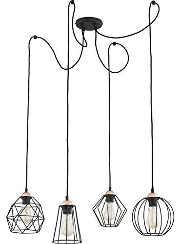 Hänge Lampe Wohnzimmer Leuchte Käfig Hängelampe Retro Schwarz (Modell VI 360cm)