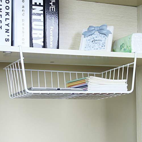 "Go Hooked 16"" Undershelf Storage Basket Under Cabinet Storage Organizer (3 Pcs, White)"