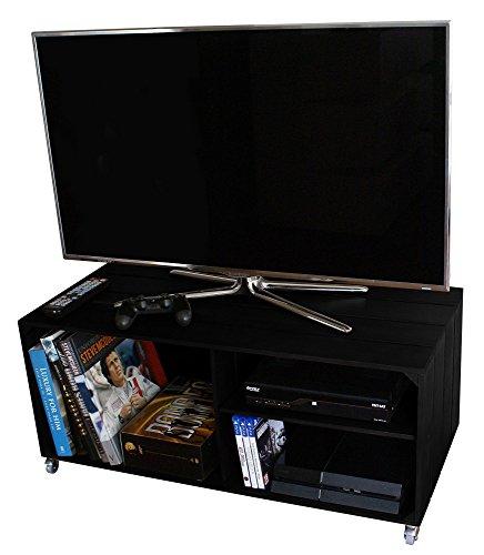 LIZA LINE Holz TV Tisch Fernsehtisch mit 3 Fächern, drehbare Rollen, Herausnehmbares Regal - Vintage Kisten Stil, Massive Kiefer - 90 x 40 x 42 cm (Schwarz) (Tv-konsole Rustikal)