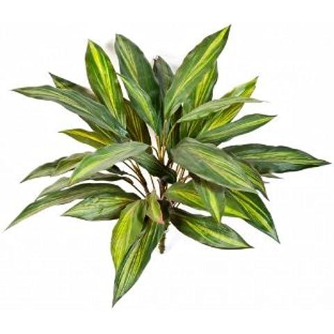 Dracena decorativa a cespuglio con gambo artificiale, 35 foglie, giallo-verde, 50 cm - Dracaena artificiale / Cespuglio decorativo -