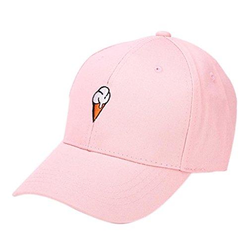 Bovake Männer Frauen Spitzenhut HipHop Curved Strapback Snapback Baseball Cap verstellbar (pink) (Basic Hut Logo Einstellbare)