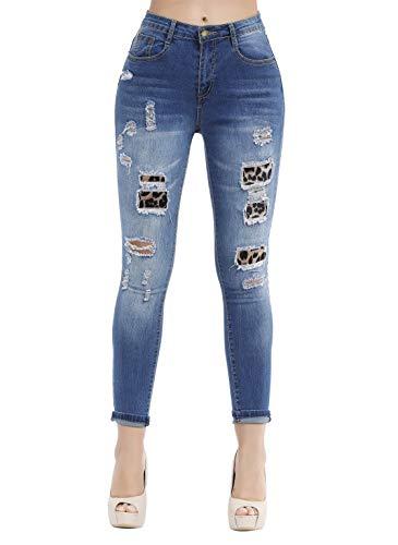Damen Jeanshose mit hoher Taille, Stretch, gerillt, Denim-Hose, Blue 20, US 4 Junior Fashion Denim Jacke