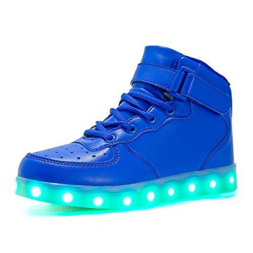 Voovix Kinder High-top LED Licht Blinkt Sneaker mit Fernbedienung-USB Aufladen Led Schuhe für Jungen und Mädchen (Blau, EU32/CN32)